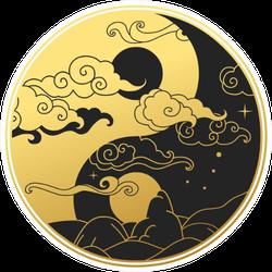 Ying&yang Symbol Gold & Black Sticker