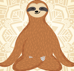 Yoga Sloth In Lotus Pose Sticker