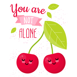 You are Not Alone Cherry Illustration Sticker