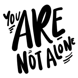 You are Not Alone Hand Lettering Design Sticker