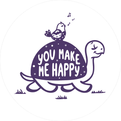 """""""You Make Me Happy"""" Cute Turtle And Bird Sticker"""