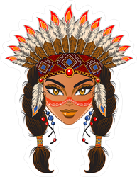Young American Indian Woman Face Sticker