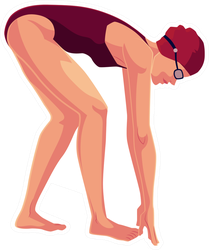 Young And Slim Female Swimmer In Starting Position Sticker