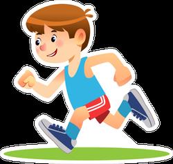 Young Boy Running Sticker