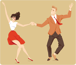 Young  Cartoon Couple Dancing Lindy Hop Sticker