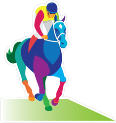 Young Colorful Jockey Sticker