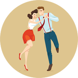 Young Couple Dancing Lindy Hop Sticker