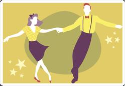 Young Couple Swing Dancing Sticker