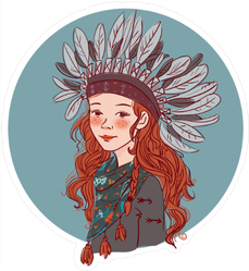 Young Girl In Native American Costume Sticker