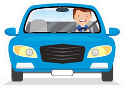 Young Man Driving Blue Car Sticker