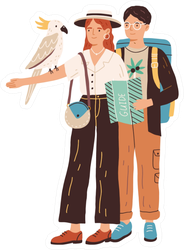 Young People Watching Cockatoo Bird Illustration Sticker