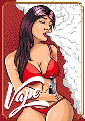 Young Sexy Woman Vaping Vape Sticker