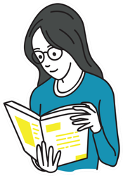 Young Woman Holding And Reading Book Simple Sticker