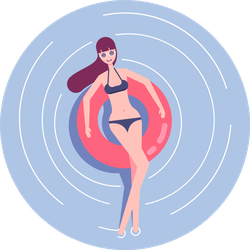Young Woman In Swimsuit And Sunglasses Relaxing Sticker