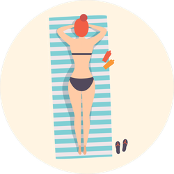 Young Woman Lying On A Beach Towel Sticker