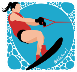 Young Woman Practicing Wake Board Sticker
