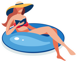 Young Woman Swimming Inflatable Ring Rest Sticker