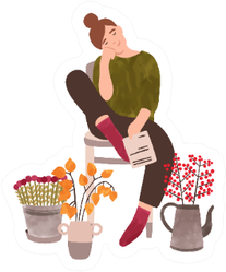 Young Woman With Flowers Female Florist Cartoon Sticker