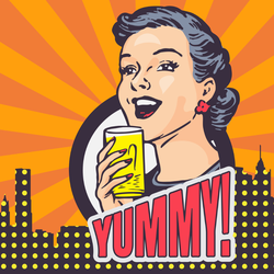 Yummy Elegant Woman Drinking Sticker