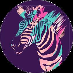 Zebra Animal On Dark Purple Sticker