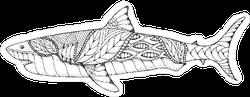 Zentangle And Stippled Shark Sticker