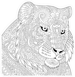 Zentangle Angry Tiger Head Sticker