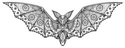 Zentangle Bat Sticker