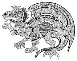 Zentangle Dragon Sticker