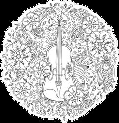 Zentangle Floral Violin Sticker