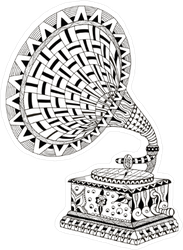 Zentangle Gramophone Sticker