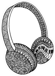Zentangle Headphones Sticker