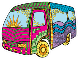 Zentangle Hippie Bus Sticker
