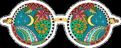 Zentangle Hippie Glasses Sticker