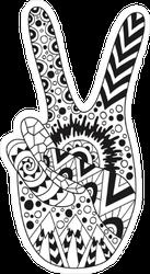 Zentangle Hippie Peace Sign Sticker