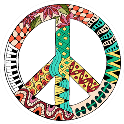 Zentangle Hippie Vintage Peace Sign Sticker