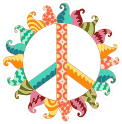 Zentangle Hippie Vintage Peace Symbol Sticker