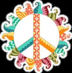 Zentangle Hippie Vintage Peace Symbol Sticker
