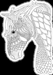 Zentangle Horse Head Line Art Sticker
