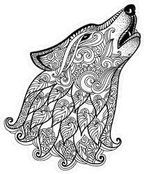 Zentangle Howling Wolf Sticker