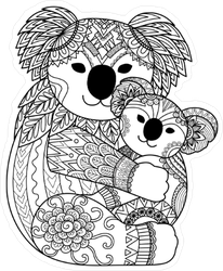 Zentangle Mother and Baby Koala Sticker