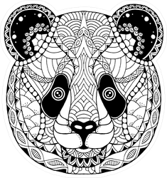 Zentangle Panda Bear Head Sticker