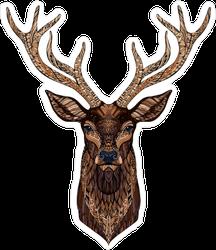 Zentangle Style Deer Head Sticker