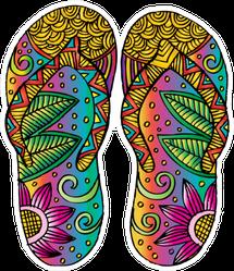 Zentangle Style Flip Flops Sticker