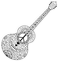 Zentangle Style Hippie Guitar Sticker