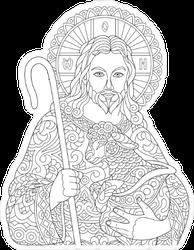 Zentangle Style Jesus Sticker