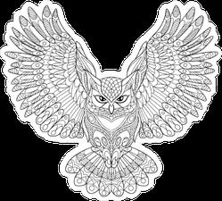 Zentangle Stylized Cartoon Owl Sticker