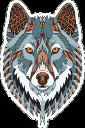 Zentangle Stylized Wolf Head Sticker