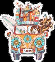 Zentangle Travelling Hippie Van Sticker