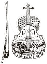 Zentangle Violin with Bow Sticker