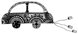 Zentangle Wedding Car Sticker